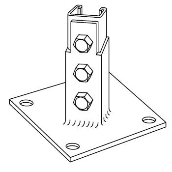 Steel City B-924 Steel Post Base with Galv-Krom Finish