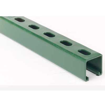 Superstrut A1200HS-10GR 12 Gauge Half Slotted Steel Channel w/ Green Urethane Powder Coat Finish; 10 Feet