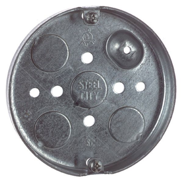 Steel City 56111 Steel 4 In Round Ceiling Pan Box; 1/2 In Knockouts
